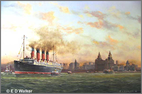RMS Mauretania leaving Liverpool for New York